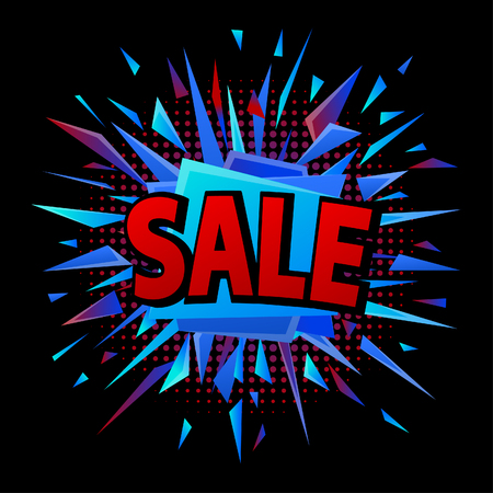 Abstract blue, red black sale offer explosion on black background