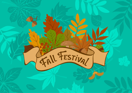 Fall autumn forest leaf festival background with vintage badge  on blue foliage texture