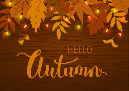 herfst val achtergrond met bladeren en opknoping feestelijke verlichting bollen slinger op houten textuur Stock Illustratie