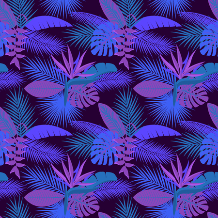 A tropical night foliage plants  seamless pattern with palm banana monstera leaves, hanging heliconia flower, strelitzia illustration.