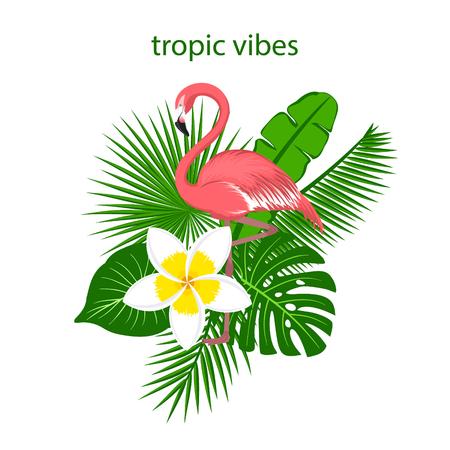 tropische planten laat bloemstuk met flamingo Stock Illustratie
