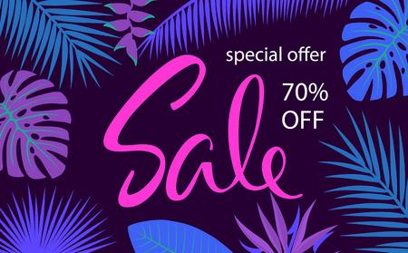 tropical leaf and flowers border frame sale banner background