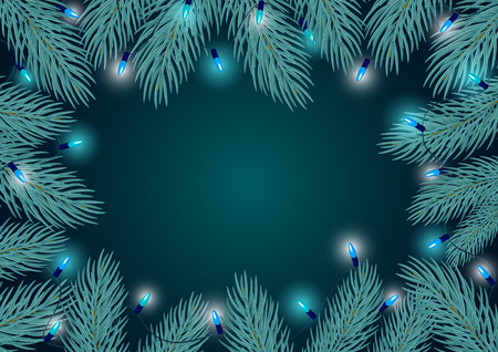 winter border frame background template with blue pine twigs branches and festive hanging light bulbs garland