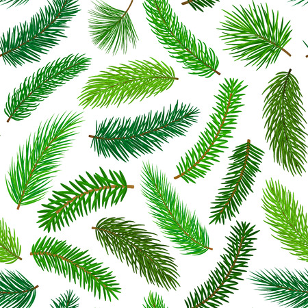 Conifer evergreen pine fir cedar needle branches twigs seamless pattern Çizim