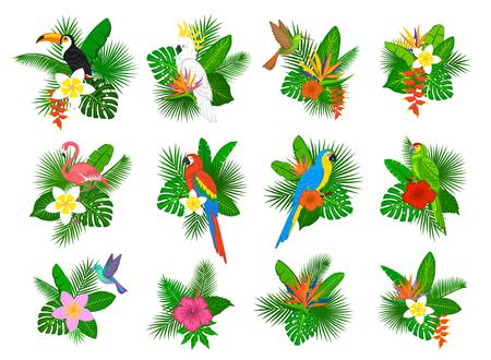 strelitzia: Tropical plants leaves flower arrangements with flamingo, parrots, toco toucan,hummingbird, hibiscus, strelitzia, frangipani, heliconia