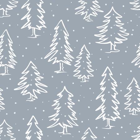 シームレス パターンの冬落書き松モミを木します。