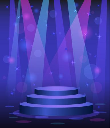 Stage podium disco nightclub dance floor spotlight light beams background Illustration