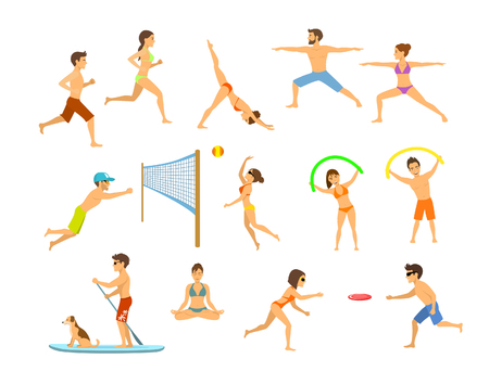 Active people men and women on the beach exercising, do yoga, aerobics, stand up paddle with dog, meditation, running jogging, play beach volleyball and plastic disc