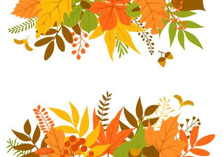 autumn leaves header and border frame background Vector Illustration