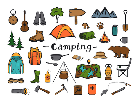 camping hiking travel roadtrip adventure gear, supply and demand colorful doodle set