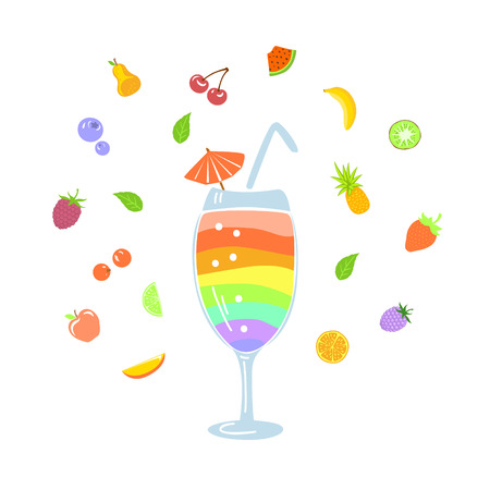 colorful fruity summertime cocktail mix with differnt fruits and berries around vector illustration Illustration