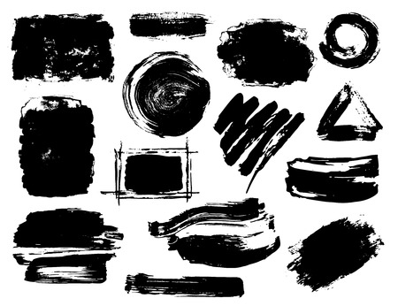 Hand drawn black abstract dry brush paint ink strokes textures