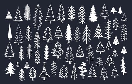 黒の背景の上に白い色の落書き松モミの針葉樹の木のコレクション