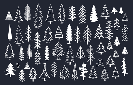 collection of doodle pine fir conifer trees in white color over black background Illustration