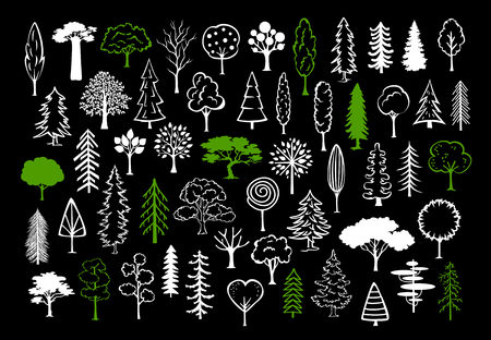 hand drawn doodle silhouette trees in different styles