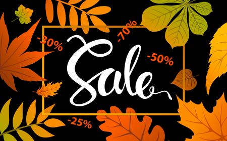 autumn fall thanksgiving seasonal sale banner on black background