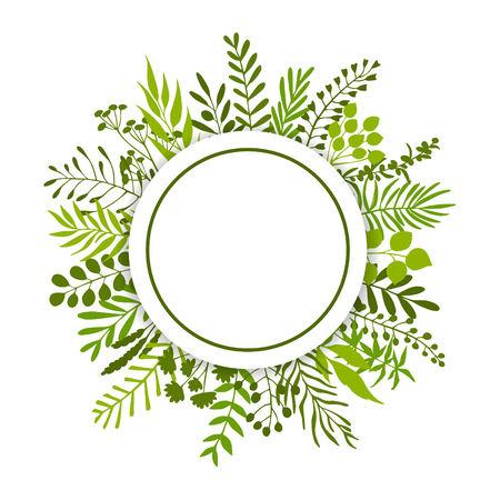 twigs branches botanical organic circle frame banner isolated