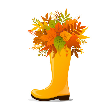 decorate: yellow rubber boot decorated with fall autumn foliage  leaves  twigs branches bouquet