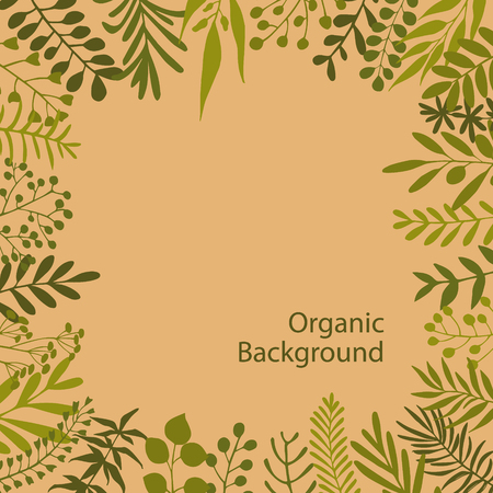 olive green: green twigs branches oragnic style frame background Illustration