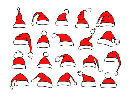 collection of different shpes santa xmas christmas hats in red black white color Illustration