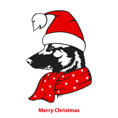 Merry christmas happy new year greeting sheperd dog in santa xmas hat and scarf portrait ilustration