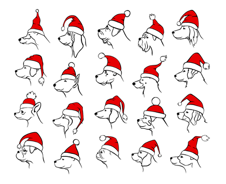 xmas happy new year 2018 outlined silhouettes of different  dogs heads profiles faces  portraits in black color, wearing colored in red and white christmas santa claus hats Illustration
