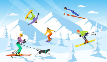 winter vacaction ski resort scene. man and woman cross country skiing, jumping, snowboarding Illustration