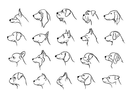 collection of dogs heads profile side view portraits silhouettes in black color