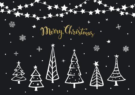 Noir Blanc Or Joyeux Noël Bonne Année Fond Carte De Voeux Modèle Avec Sapins De Noël De Dessin Animé Et Suspendus Sur Guirlande étoiles étoiles