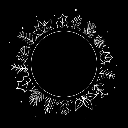 winter foliage plants twigs branches flowers black and white cirlce round frame template