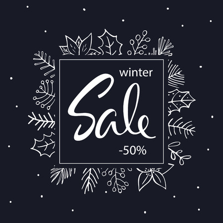 Winter seasonal discount promotional sale banner with winter hand drawn outlined foliage frame twigs flowers branches.