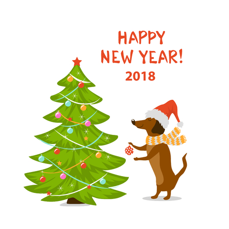 Happy New Year 2018 holidays. Cartoon dog dachshund decorating Christmas tree. Illustration