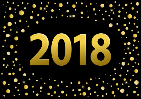 happy new year 2018 golden numbers over black background with golden circles confetti  Illustration