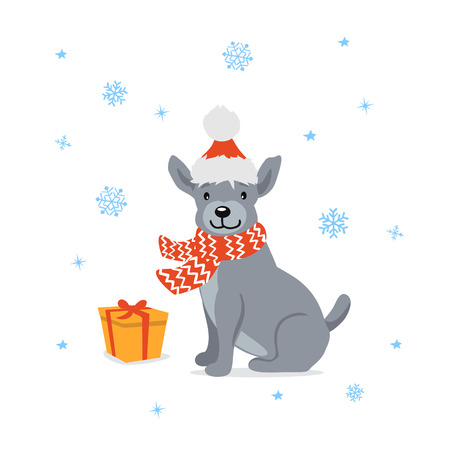cute cartoon dog in santa xmas hat sitting in front of a gift box, present. happy new year 2018 vector illustration