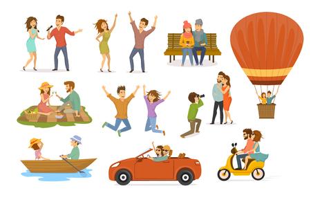 Collection d'activités romantiques de couples amoureux, disco club, chanter des chansons de karaoké, s'asseoir dans un parc sur un banc, vol en montgolfière, pique-nique, balade en scooter, bateau à rames, voyage en voiture, séance photo Banque d'images - 94463056