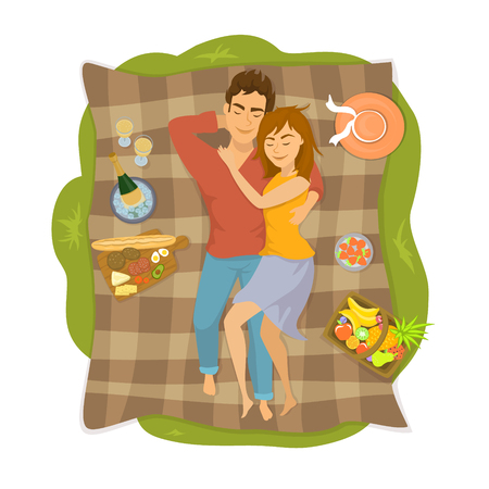 Couple lying on a blanket on a picnic in the park, top view from above vector illustration Illustration