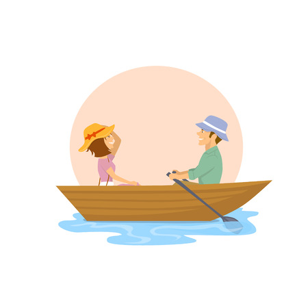 手漕ぎボートでロマンチックな旅行を持つ陽気なかわいいカップル  イラスト・ベクター素材