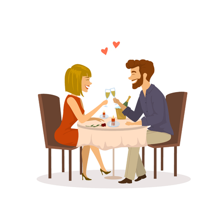 Happy cheerful couple in love on a romantic date in the restaurant having dinner isolated vector illustration Illustration