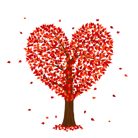 Romantic happy valentine's day red tree in a shape of heart, isolated vector cartoon illustration