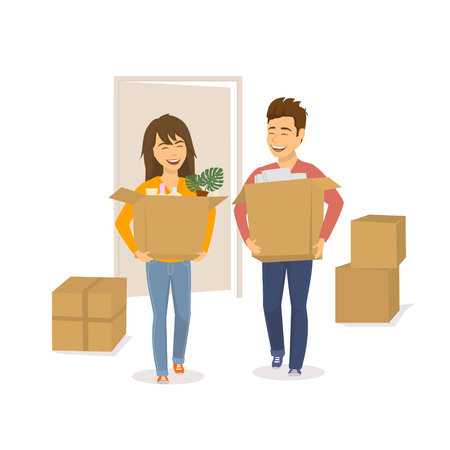 Happy cheerful couple man and woman moving in together in a new house apartment home