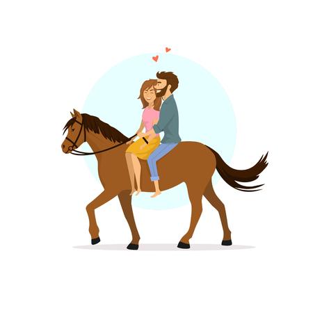Cute romantic cartoon couple in love horseback riding
