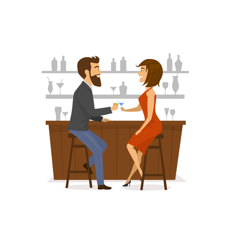 Couple, man and woman on a date, drinking cocktails at the bar counter