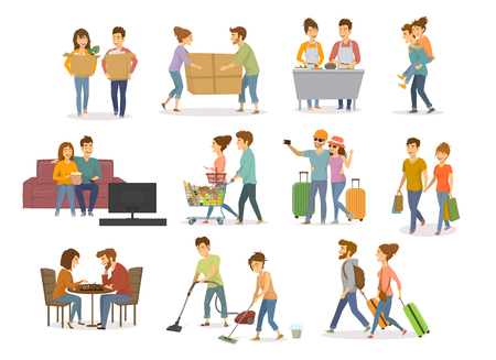 Collection of cute couples activities, man and woman shopping in mall, supermarket, moving in a new home, cleaning, watching tv on sofa, travel, cooking, playing chess, having fun vector illustration set Vettoriali