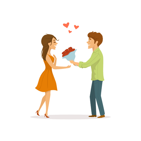 Romantic couple in love on a date, man surprises woman with flowers cute cartoon vector illustration Illustration