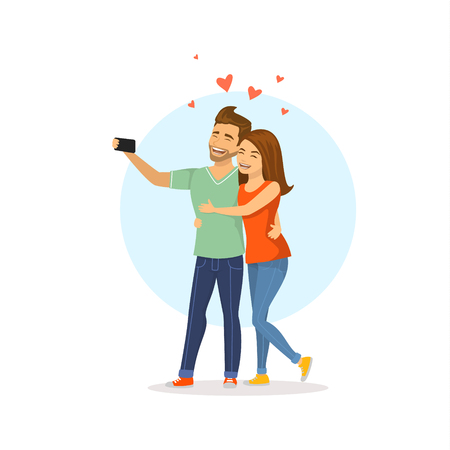 Young cute cheerful couple in love takes selfie