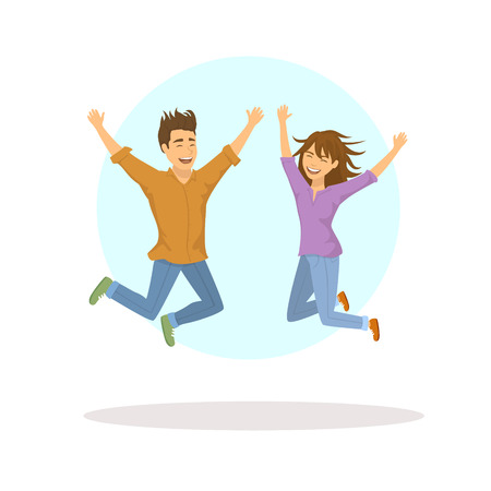 Cute funny couple, man and woman jumping for joy
