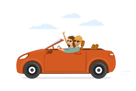 Happy funny couple, man and woman in love on the road trip driving a car