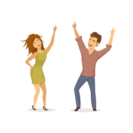 Cute funny couple disco dancing , clubbing isolated vector illustration Illustration