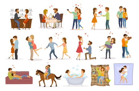 Collection set of couples in love on a date hug embrace kiss hold hand take bath, horse riding, giving flowers, marriage proposal, walk, sleep, eating in restaurant and drink in bar