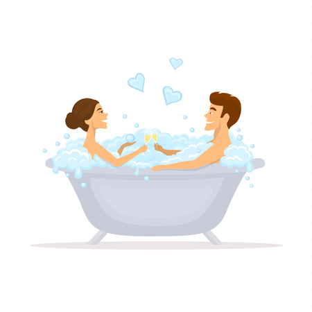 Man and woman, romantic couple in love in a bathtub taking bubbled bath